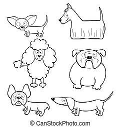 książka, kolorowanie, psy, rysunek