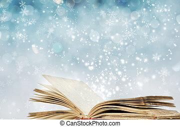 książka, magia, boże narodzenie, tło