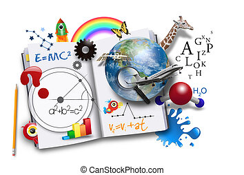 książka, nauka, otwarty, matematyka, nauka