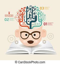 książka, szablon, używany, kwestia, cięty, infographics, /, wektor, website, cutout, poziomy, graficzny, papier, diagram, styl, czuć się, układ, twórczy, albo, może