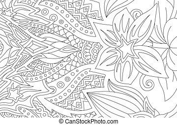 książka, sztuka, stylizowany, kolorowanie, linearny, kwiaty