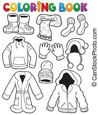 książka, temat, kolorowanie, 3, odzież