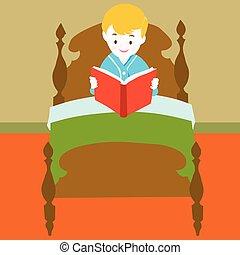 książka, wektor, -, czytanie, dziecko