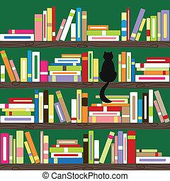 książki, barwny, półka na książki