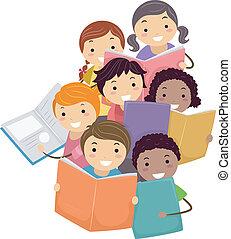 książki, dzieciaki, stickman, czytanie, ilustracja
