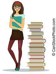 książki, dziewczyna, piękny, sztaplowany, student, młody