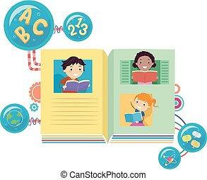 książki, stickman, czytanie, ilustracja, dzieciaki