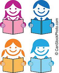 książki, wektor, ludzie