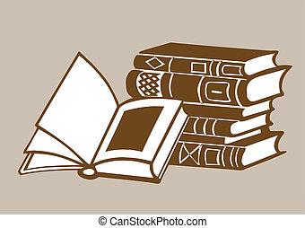 książki, wektor, tło, brązowy, ilustracja