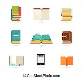 książki, zbiór, ikony