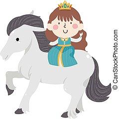 księżna, koźlę, dziewczyna, ilustracja, koń, biały