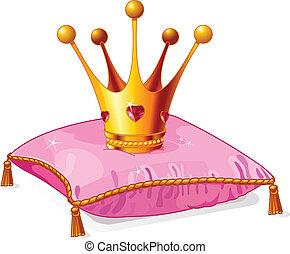 księżna, poduszka, korona, różowy