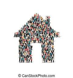 kształt, ludzie, dom, grupa
