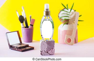 kształt, włosy, product., troska, extract., produkt, orzech kokosowy, kiść, kosmetyczny
