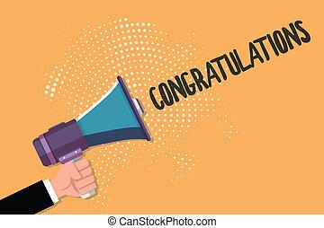 ktoś, wyrażając, handlowy, fotografia, pokaz, pisanie, dobry, życzenia, chwalić, tekst, konceptualny, congratulations., ręka, osiągnięcie