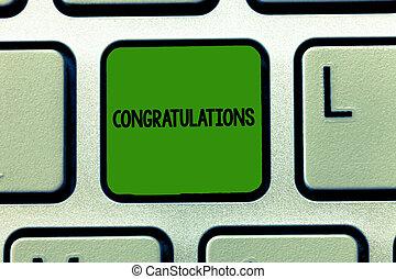 ktoś, wyrażając, handlowy, fotografia, pokaz, pisanie, konceptualny, dobry, życzenia, chwalić, showcasing, congratulations., ręka, osiągnięcie