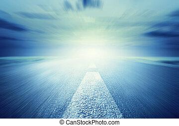 ku, asfalt, ruch, light., długa droga, szybkość, opróżniać