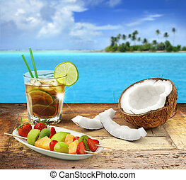 kuba, drewniany, motyw morski, tropikalny owoc, polinezyjski, libre, stół