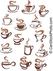 kubeczki kawy, doodle, styl, rys, filiżanki
