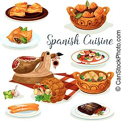 kuchnia, afisz, obiad, projektować, menu, hiszpański