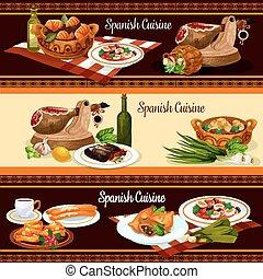 kuchnia, komplet, restauracyjny jadłospis, projektować, hiszpański, chorągiew