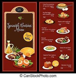 kuchnia, menu, lunch, wektor, szablon, hiszpański