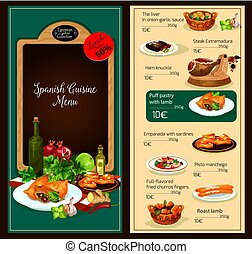 kuchnia, restauracyjny jadłospis, wektor, szablon, hiszpański