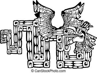 kukulcan, mayan, czarnoskóry, biały, wizerunek