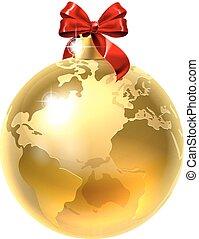kula, bauble, świat, ziemia, łuk, boże narodzenie