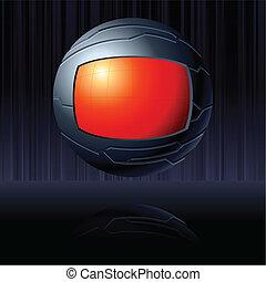 kula, czarny czerwony, futurystyczny