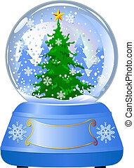 kula, drzewo, śnieg, boże narodzenie