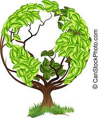 kula, drzewo, zielony, concep, ziemia, świat
