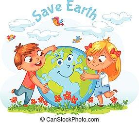 kula, dziewczyna, tulenie, chłopiec, day., ziemia