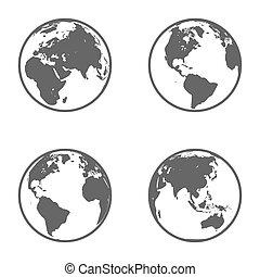 kula, emblem., wektor, ziemia, set., ikona
