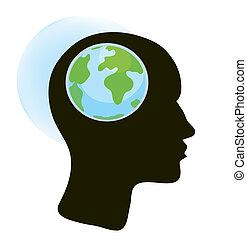 kula, mózg, ilustracja, pojęcie