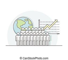 kula, wzrost, kreska, ekonomia, workforce, sektor, handlowy, wektor, świat, zasoby, albo, ludzki, wykres, ilustracja