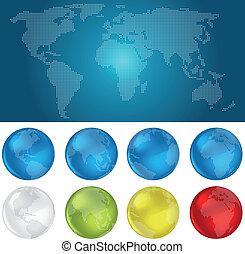 kule, świat, kropkowany, mapa