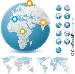 kule, światowe mapy