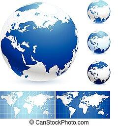 kule, mapy, świat
