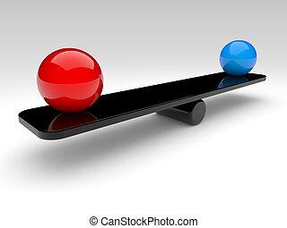 kule, porównać, (balance, dwa, concept)