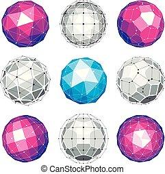 kulisty, komplet, kropkuje, obiekty, stworzony, pentagons., globusy, wireframe, kwestia, 3d, poly, ścianka, triangle, związany, perspektywa, shapes., geometryczny, kwadraty, wektor, trygonometria, niski
