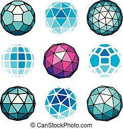 kulisty, komplet, stworzony, pentagons., globusy, shapes., 3d, poly, ścianka, triangle, wektor, niski, obiekty, geometryczny, kwadraty, trygonometria, perspektywa