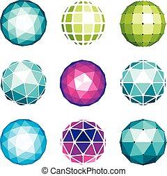 kulisty, sieć, różny, robiony, polygonal, korzystać, poly, facets., modeluje, globusy, obiekty, wektor, niski, cyfrowy, zbiór, używając, geometryczny, 3d, design.