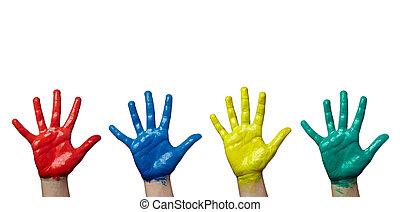 kunszt, ręka, sztuka, dziecko, barwiony, kolor