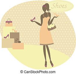 kupno, kobieta, obuwie