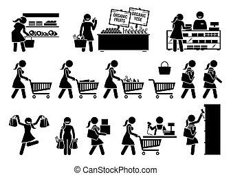 kupno, zaopatrywać, owoce, icons., kobieta, mięso, wtykać, sklep spożywczy, warzywa, figura