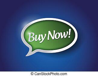 kupować, ilustracja, znak, projektować, wiadomość, teraz