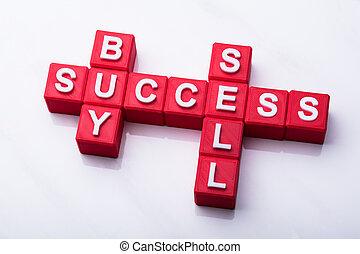 kupować, sprzedawać, powodzenie, krzyżówka