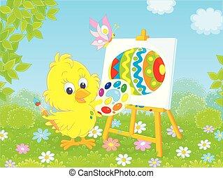 kurczątko, mały, wielkanoc, malarz
