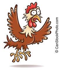 kurczak, przestraszony, rysunek